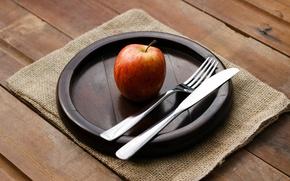 Картинка фон, яблоко, приборы