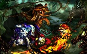 Картинка огонь, магия, рисунок, болото, защита, бой, арт, драка, единорог, fire, сражение, magic, сестры, art, fight, …