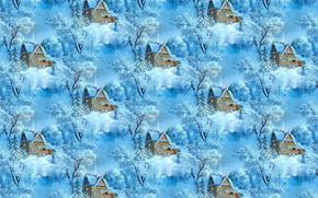 Картинка зима, снег, природа, дом, фон, праздник, текстура