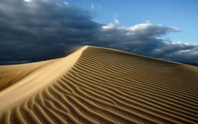 Картинка песок, небо, тучи, пустыня, жара