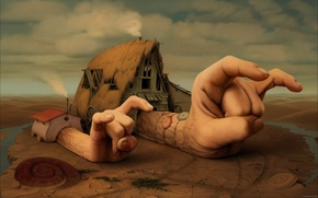 Картинка небо, глаз, дом, дым, часы, руки, раковина, ноготь