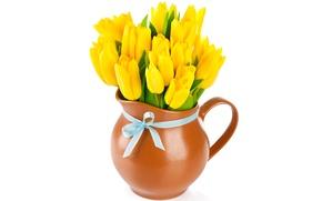 Картинка букет, желтые, тюльпаны, кувшин, бант, flowers, tulips