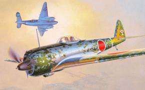 Картинка рисунок, Nakajima Ki-43 Hayabusa, Авиация Императорской армии Японии, истребитель, Оскар