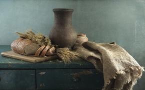 Картинка колоски, хлеб, кувшин, натюрморт, мешковина