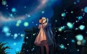 Обои hatsune miku, здание, вокалоид, арт, руины, огоньки, девушка, ночь, mizukai, фонарь, vocaloid