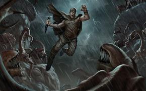 Картинка ночь, дождь, монстры, вин дизель, Риддик, The Dark Hunt