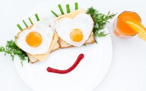 Картинка стакан, креатив, еда, завтрак, укроп, сок, тарелка, хлеб, яичница, зелёный лук
