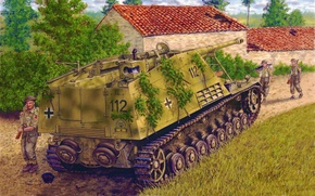 Картинка war, art, painting, tank, WW2, Sd.Kfz.164 Nashorn