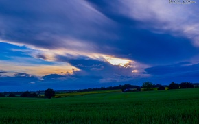 Картинка Nature, Sky, Purple, Landscape, Sunset, Magic, Summer, United Kingdom, Dream, Cloud, Forest, Wheat, Plains, Sorin …
