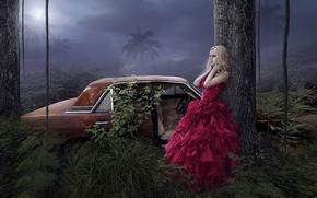 Картинка пальмы, девушка, арт, фантазия, деревья, автомобиль, платье