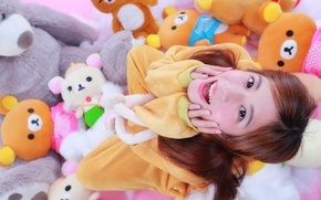 Картинка радость, лицо, игрушки, смех, азиатка