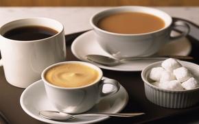 Обои кружка, капучино, тарелка, жидкость, рафинат, ложка, пить, стол, чай, чашка, фон, напиток, кофе, сахар, еда, ...