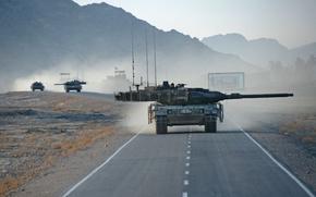 Картинка дорога, война, танк, колонна, афганистан, Leopard 2A6