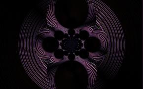 Картинка круги, абстракция, фантазия, узор, вращение, сфера, чёрный фон, фиолетовая фантазия