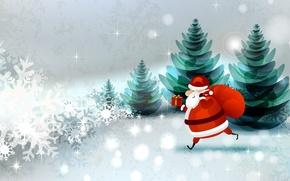 Картинка лес, снежинки, праздник, коробка, дед мороз, мешок, ёлки