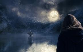 Обои луна, милые кости, часы, беседка, кино, сон