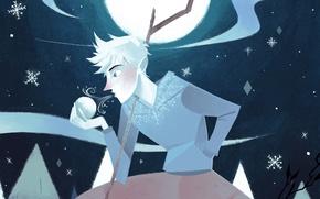 Картинка снежинки, луна, арт, парень, снежок, Rise of the Guardians, Хранители снов, Ледяной Джек, Jack Frost, …