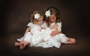 Обои дети, девочки, малыш, забота