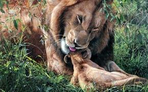 Картинка лев, арт, ласка, львёнок, Fathers Day, Terry Isaac, отцовство