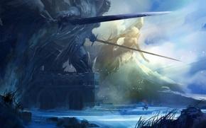 Картинка конь, снег, арт, холод, знамя, всадник, путники, замок, меч, скалы, статуя, Neal Hanson, heerlo, облака