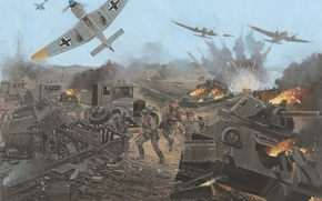 Картинка города, рисунок, арт, май, солдаты, танки, колонна, самолёты, бои, Харьков, Ju 87, немецкие, Великая отечественная ...