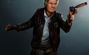 Обои старик, star wars, art, Harrison Ford, han solo