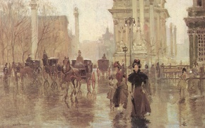 Картинка осень, люди, дождь, улица, здания, дома, картина, арт, прогулка
