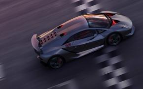 Обои Sesto Elemento, финишная черта, Lamborghini, скорость, трасса