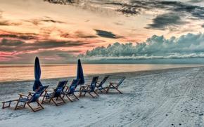 Обои песок, пляж, небо, закат, вид, hdr, beach, nature, sunset, красивый, beautiful, облаках