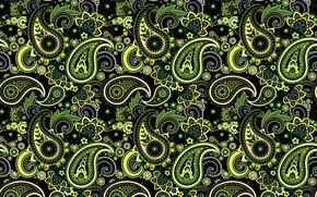 Картинка зеленый, узор, орнамент, пейсли, индийские огурцы