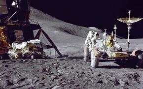 Обои Луна, Falcon, астронавт, Jim Irwin, луномобиль, Apollo 15