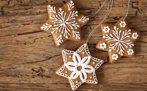 Картинка звезды, снежинки, Новый Год, печенье, Рождество, Christmas, звездочки, десерт, выпечка, New Year, глазурь, новогоднее