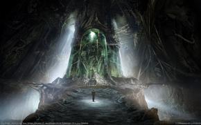 Обои sven sauer, человек, пещера, монстр