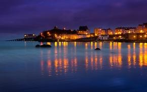 Обои море, ночь, огни, дома, бухта, Уэльс, Тенби