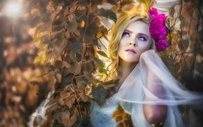 Картинка листья, цветы, макияж, *•●♥ Beautiful Women ♥●•*