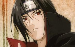 Картинка портрет, повязка, Naruto, красные глаза, sharingan, Akatsuki, Itachi uchiha