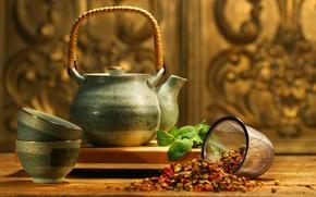 Картинка чайник, мята, аромат, добавки, Asian tea