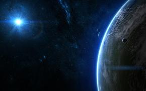 Картинка солнце, звезды, планеты, атмосфера, созвездия, спутники