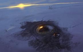 Обои снег, арт, глаз, зима, станция, солнце, лёд, закат