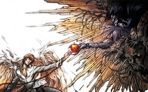 Картинка лучи, яблоко, цепь, пародия, Тетрадь смерти, Death note, Kira, Light Yagami, Ryuk