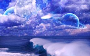 Картинка море, волны, небо, космос, звезды, облака, планета, кольца