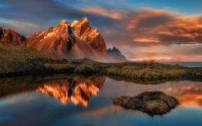 Картинка небо, облака, закат, горы, озеро, вечер