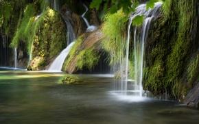 Картинка природа, река, водопад