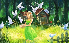 Картинка лес, лето, трава, глаза, взгляд, девушка, деревья, природа, волосы, забор, арт, домик, живопись, зеленое платье, …