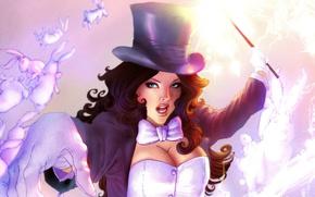 Картинка волшебство, кролики, заклинание, волшебная палочка, DC Comics, Zatanna