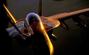 Обои пилоты, шланг, f/a-18, дозаправка, солнце, бомба
