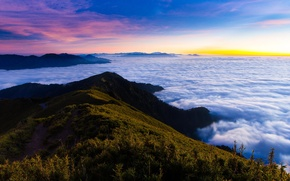 Картинка лес, облака, горы, туман, утро, панорама, расвет