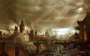 Картинка город, апокалипсис, Лондон, здания, катастрофа, Биг Бен