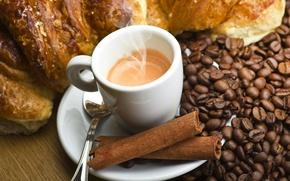 Картинка кофе, зерна, палочки, чашка, корица, круассан, эспрессо