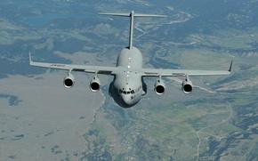 Обои полет, ландшафт, самолёт, стратегический, военно-транспортный, C-17, McDonnell Douglas, Globemaster III